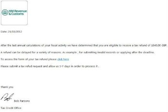 An example of a scam tax refund email